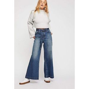 Free People Ringer Wide Leg Denim Trouser